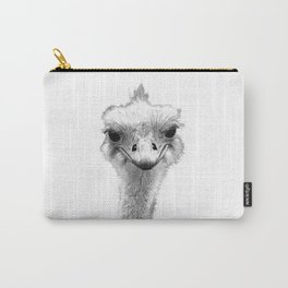 Black and White Ostrich Illustration Carry-All Pouch