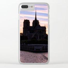 Sunset on Notre Dame de Paris - Paris, France Clear iPhone Case