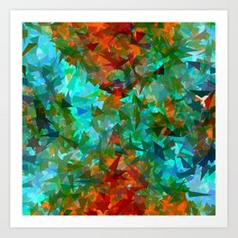 psychedelic geometric triangle fractal abstract pattern in blue green orange Art Print