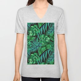 Blue and Green Ferns and Tropical Leaves Unisex V-Neck