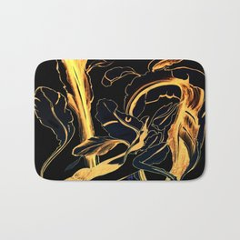Plant in Blue Marker - Leaf of Life Miracle Leaf - Black and Gold Bath Mat