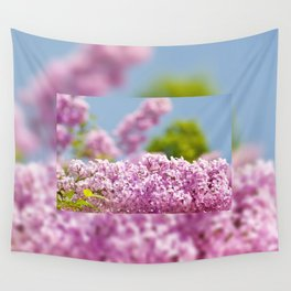 Lilac vibrant pink flowers shrub Wall Tapestry