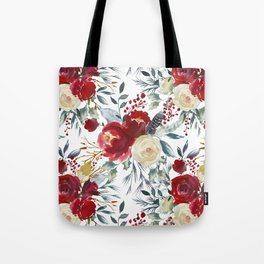 Boho Scarlett Blossom With Feathers on White Tote Bag