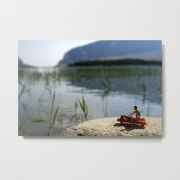 Suntan lotion and relax on the lake. Metal Print