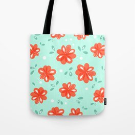Cheerful Red Flowers Pattern Tote Bag