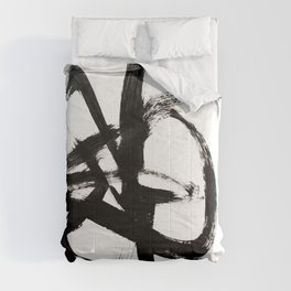 Brushstroke 4 - a simple black and white ink design Comforters