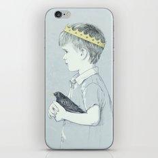 Boy and bird blue iPhone & iPod Skin