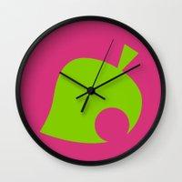 animal crossing Wall Clocks featuring Animal Crossing Summer Leaf by Rebekhaart
