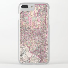 Vintage New York State Railroad Map (1876) Clear iPhone Case
