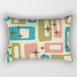 Retro Mid Century Modern Abstract Pattern 623 Olive Blue and Dusty Rose Rectangular Pillow