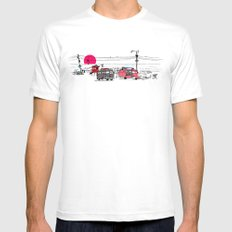 Pink Sky Mens Fitted Tee MEDIUM White