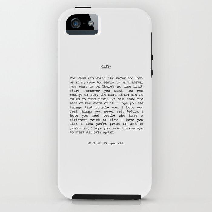Life quote F. Scott Fitzgerald iPhone Case