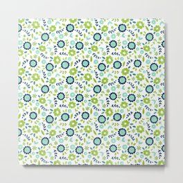 Green and blue flowers on white Metal Print