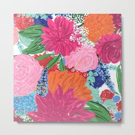 Pretty Colorful Big Flowers Hand Paint Design Metal Print