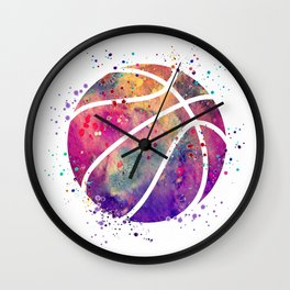 Purple Basketball Watercolor Art Print Sports Poster Nursery Home Decor Kids Room Sports Painting Wall Clock