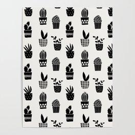 Geo Cacti Black Poster