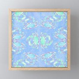 Watercolor blue crab Framed Mini Art Print