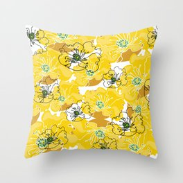 yellow marzipan flowers Throw Pillow