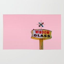Atomic Pink Starburst - Vintage Googie-Style Sign with Pink Background Rug