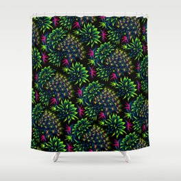 Cactus Floral - Bright Green/Pink Shower Curtain