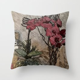 Orchid Illustration Throw Pillow