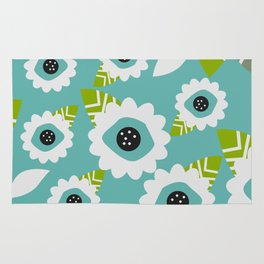 Abstract little flowers in blue Rug