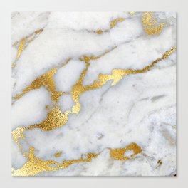 White and Gray Marble and Gold Metal foil Glitter Effect Canvas Print