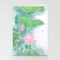 lotus flower Stationery Cards featuring Lotus by marryweather
