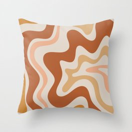 Liquid Swirl Abstract in Earth Tones Throw Pillow
