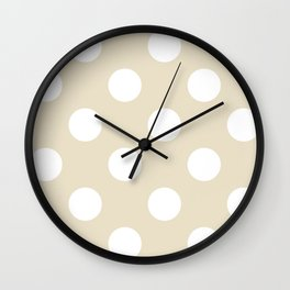 Large Polka Dots - White on Pearl Brown Wall Clock