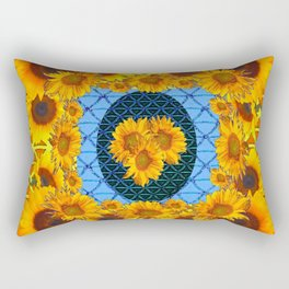 DECORATIVE  BABY BLUE ART & YELLOW SUNFLOWERS Rectangular Pillow