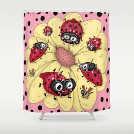 some quirky ladybugs and a couple of cute bees, pink coral yellow red black white Shower Curtain