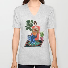 Cat lady reading Unisex V-Neck