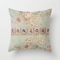 bonjour Throw Pillows featuring Bonjour by Christine Hall