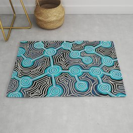 Dreamtime Life Lines Tribal Abstract Art Pattern Rug