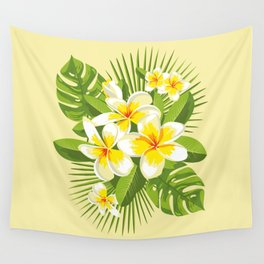 Tropical Bouquet. Plumeria Wall Tapestry