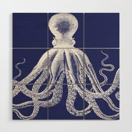 Octopus | Navy Blue and White Wood Wall Art