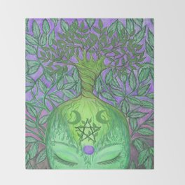 Earth Goddess Tree of Life Throw Blanket