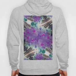 Lilac Blue Flower Curves - Abstract Floral Art by Fluid Nature Hoody