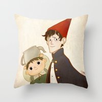 greg guillemin Throw Pillows featuring Greg & Wirt by Ferkashi