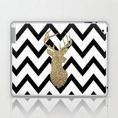 Glitter Deer Silhouette with Chevron Laptop & iPad Skin