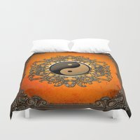 ying yang Duvet Covers featuring Ying and yang by nicky2342