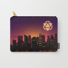 Synthwave Cityscape D20 Dice Full Moon Tabletop RPG Landscape Carry-All Pouch