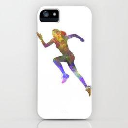 Woman runner running jogger jogging silhouette 03 iPhone Case