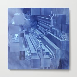 blue Apollonian Gasket with boxes Metal Print
