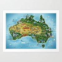 australia Art Prints featuring Australia by Steebz
