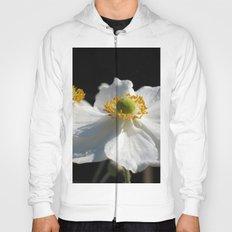 White on Black - Anemone Flowers Hoody