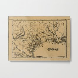 Vintage Map of Texas (1838) Metal Print