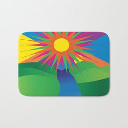 Psychedelic Sun Neon Mountain River Lands Bath Mat