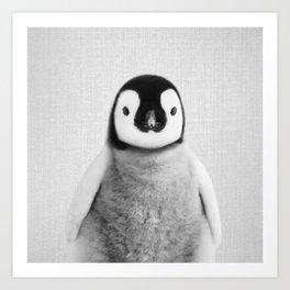 Baby Penguin - Black & White Art Print